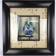 Sale 8607R - Lot 45 - Framed Chinese Blue and White Vase (Frame Size: 67 x 63cm)