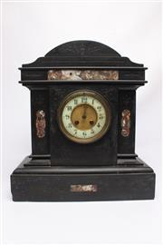 Sale 8710 - Lot 68 - Edwardian Black Slate Mantle Clock