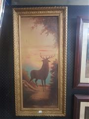 Sale 8833 - Lot 2008 - A early oil painting of a Stag, frame size: 89 x 43cm