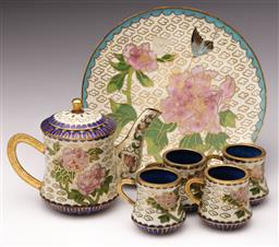 Sale 9078 - Lot 163 - A Miniature Cloisonne Tea Set inc Dish, Jug and A Set of 4 Cups