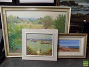 Sale 8407T - Lot 2044 - Framed Oil Paintings (3), Summer Crops, Mudgee signed Patsy Purvis, Woy Woy Channel signed Thomas Boyd & Long Reef Looking North