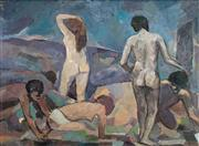 Sale 8449A - Lot 556 - William Frater (1890 - 1974) - Eliza Fraser and the Aborigines 89 x 120cm