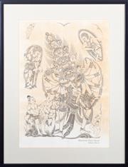 Sale 8517A - Lot 41 - Gusti Nym Saudara Lempad, Bali - Balinese God image size 53 x 38cm