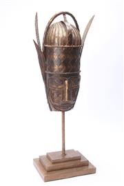 Sale 8681 - Lot 55 - African Bronze Mask on Stand (H 74cm)