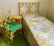Sale 8510A - Lot 86 - Two bamboo single beds together with a side table and chair painted in yellow and another pair of blue painted French style caned si...