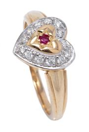 Sale 8991 - Lot 360 - A 9CT GOLD GEMSET HEART RING; centring a round cut ruby to border of round brilliant cut diamonds, size N1/2, top 10.8 x 10.4mm, wt....