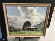 Sale 9045 - Lot 2032 - T Baddiley Farm House oil on painting 58 x 68cm (frame) signed lower left