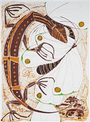 Sale 9032A - Lot 5066 - Clifton Pugh (1924 - 1990) - Lizard & the Butterflies 1988 62 x 89 cm (sheet)