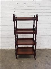 Sale 9085 - Lot 1036 - Victorian Walnut Whatnot, of four tiers, with gallery backs & turned supports (H:122 x W:58 x D:37cm)