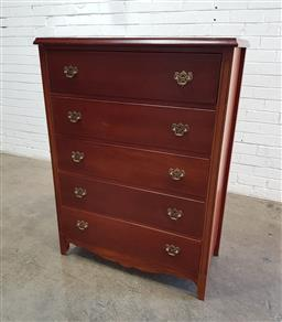 Sale 9137 - Lot 1025 - Timber chest of 5 drawers (h:120 x w:90 x d:40cm)