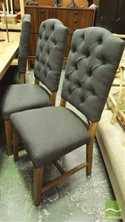 Sale 8390 - Lot 1242 - Set of 8 Charcoal Linen Upholstered Buttoned-Back Chairs