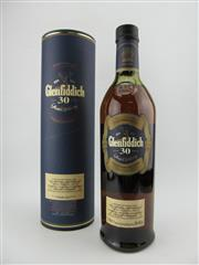 Sale 8411 - Lot 695 - 1x Glenfiddich 30YO Single Malt Scotch Whisky - 40% ABV, 700ml in canister