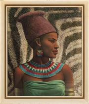 Sale 8703A - Lot 42 - Tretchikoff, African Woman (jewellery), frame size 70cm x 59cm