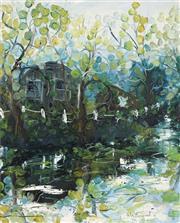 Sale 8722 - Lot 546 - Celia Perceval (1949 - ) - Untitled, 1973 (Lake House) 75.5 x 61.5cm