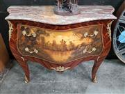 Sale 8724 - Lot 1003 - Hand Painted Bombe Style Chest with Marble Top
