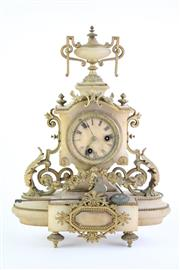 Sale 8832 - Lot 2 - French Alabaster Clock with Brass Ornaments, with Pendulum