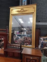 Sale 8868 - Lot 1091 - Louis XVI Style Gilt Overmantle Mirror, the frame with wrapped ribbon design & surmounted by a tied ribbon panel