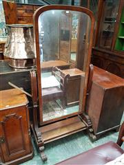 Sale 8868 - Lot 1156 - William IV / Early Victorian Mahogany Cheval Mirror, with arched mirror, swept supports & scroll feet