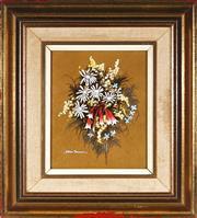 Sale 9011 - Lot 2003 - William Freeman (1929 - 2018) - Daisies & Bells 17.5 x 14.5 cm (frame: 32 x 29 x 4 cm)