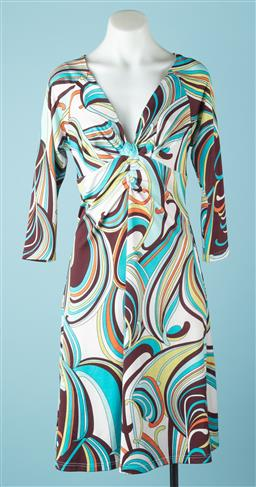 Sale 9091F - Lot 78 - A MOSCHINO CHEAP N CHIC MIDI DRESS; with three quater sleeves in a retro design. Cotton blend. size L
