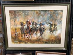 Sale 9139 - Lot 2017 - NORMA DICKASON - Picnic Races 58.5 x 89.5 cm (frame: 82 x 113 x 3 cm)