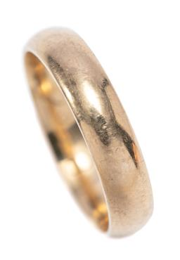 Sale 9246J - Lot 375 - A 9CT GOLD BAND; rounded 5mm wide band of plain form, size U, wt. 5.16g.