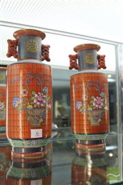 Sale 8285 - Lot 6 - Pair Of Red Rouleau Vases, Marks To Base