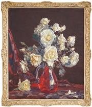 Sale 8443 - Lot 535 - Allan Thomas Bernaldo (1900 - 1988) - Still Life - Roses 61 x 50.5cm