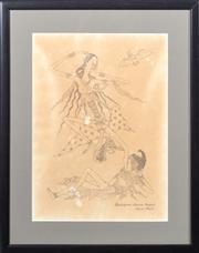 Sale 8517A - Lot 98 - Gusti Nym Saudara Lempad, Bali - Lady & Bat image size 36 x 26cm