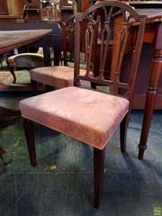 Sale 8598 - Lot 1092 - Pair of George III Hepplewhite Style Mahogany Chairs, the arched backs with pierced splats, pink damask seats & tapering legs