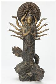 Sale 8667 - Lot 76 - Cast Metal Figure of 14 Arm Guanyin Figure ( H 41cm)