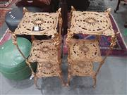 Sale 8676 - Lot 1154 - Pair of Brass Plant Stands
