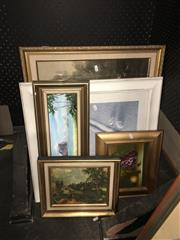 Sale 8754 - Lot 2055 - 3 Prints & 2 Oils - Still Life & Lord Howe Island
