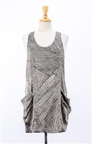 Sale 8891F - Lot 64 - A Reiss abstract printed satin sleeveless midi dress with pockets, size 10