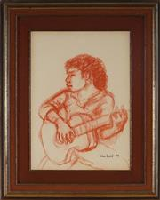 Sale 8961 - Lot 2004 - John Bell (1938 - ) - The Guitar, 1979 27 x 19.5 cm (frame: 40 x 34 x 3 cm)