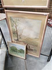 Sale 8981 - Lot 2055 - P Brandon (3 works) Stump,  Quiet Creek & Country Scene watercolour, 105 x 76 cm (2) & 42 x 52 cm (1), signed