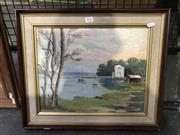 Sale 8981 - Lot 2037 - W Russell - Moored Boats, oil on board, signed, 29x36cm