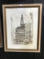 Sale 9045 - Lot 2027 - General Post Office, Sydney handcoloured lithograph and signed