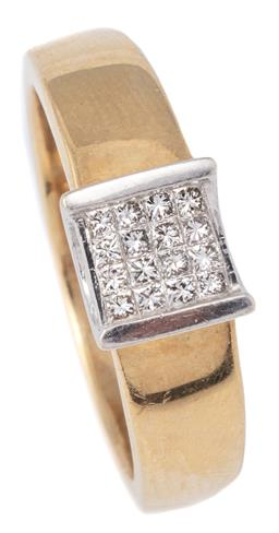 Sale 9124 - Lot 344 - A 9CT GOLD DIAMOND RING; invisible set with 16 princess cut diamonds totalling 0.24ct in white gold to tapered yellow gold shank, si...