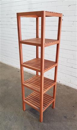 Sale 9137 - Lot 1043 - Modern timber open shelving unit (h139 x d37cm)