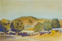 Sale 9191A - Lot 5010 - JOHN ROY ELDERSHAW (1892 - 1973) Farmyard Scene watercolour 31 x 47 cm (frame: 55 x 58 x 2 cm) signed