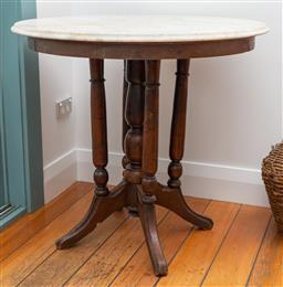 Sale 9191H - Lot 37 - An antique marble top occaissional table, H 74 x D 80 cm