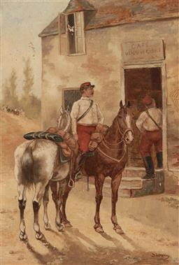 Sale 9212A - Lot 5060 - DAVID HENRY PARRY (1866 - 1950) French Cavalrymen Stop For Lunch, 1889 oil on canvas (AF) 34.5 x 24.5 cm (farme: 52 x 42 x 3 cm) sig...