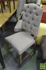 Sale 8390 - Lot 1491 - Set of 8 Linen Upholstered Buttoned-Back Chairs