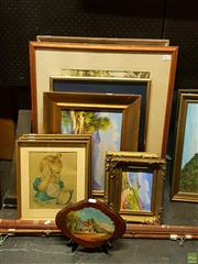 Sale 8627 - Lot 2077 - Four Landscapes signed W. Bell, Neta Harris Woman, Country Watercolour signed W.I. Goodbrand, and others (10)