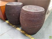 Sale 8637 - Lot 1056 - Pair of Modern Wicker Stools