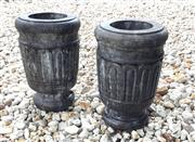 Sale 8706A - Lot 44 - A pair of carved stone urns, carved from single pieces of stone, general wear, H 45 x W 30cm