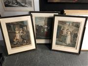 Sale 8906 - Lot 2098 - 3 Cries of London: Turnips & Carrots ho, Knives, Scissars and Razors to Grind & Old Chairs to Mend engravings, F.Wheatley, Dáp...