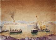 Sale 8958 - Lot 2032 - Allan Waite (1924 - 2010) - Darling Harbour Construction 44 x 62.5 cm (frame: 68 x 85 x 2 cm)