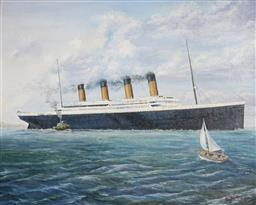 Sale 9116 - Lot 592 - Michael Searle (1949 - ) Titanic Docking, Southampton oil on canvas board 60 x 75 cm (frame: 78 x 93 x 3 cm) signed and dated lower ...